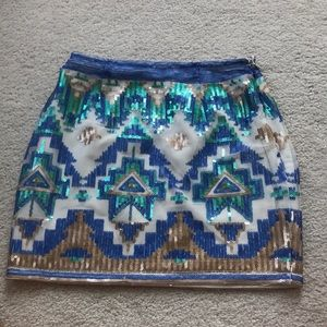 Aztec print sequin skirt